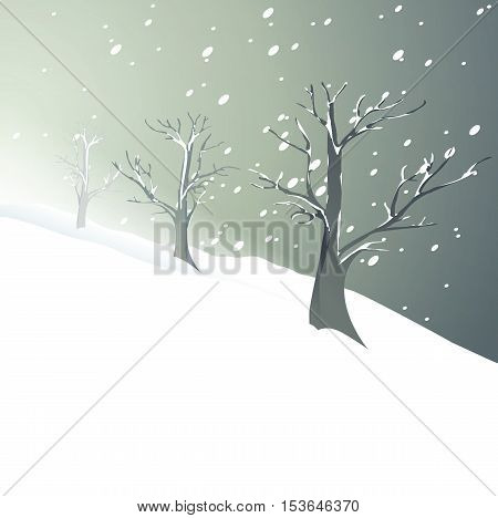 Winter background with snow-covered trees - VECTOR ILLUSTRATION