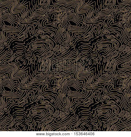 Seamless topographic contour map pattern. Vector seamless background.