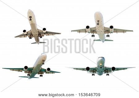 Set of airplanes isolated on white background