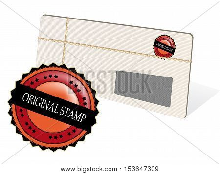 Vector letter with stamp on white background - illustration
