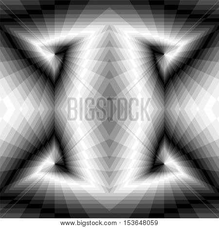 Vector Illustration.Seamless Triangle Abyss. Monochrome Rectangles Expanding from the Center Create Optical Illusion of Volume and Depth. Geometric Abstract Background. Suitable for Web Design.