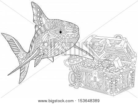 Stylized underwater shark and treasure chest full of gold. Freehand sketch for adult anti stress coloring book page with doodle and zentangle elements.
