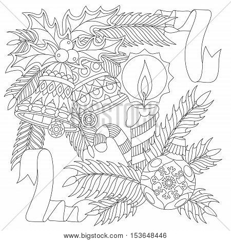 New Year decorations. Christmas ball jingle bells candle candy stick ribbons holly berry leaves fir branch. Freehand sketch for adult anti stress coloring book page with zentangle elements.