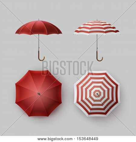 Vector Set of White Red Striped Blank Classic Opened Round Rain Umbrella Parasol Sunshade Top Front Side View Mock up Close up Isolated on Background