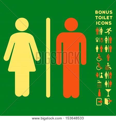WC Persons icon and bonus male and woman WC symbols. Glyph illustration style is flat iconic bicolor symbols, orange and yellow colors, green background.
