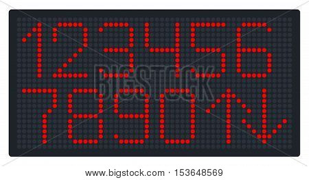 Digital Number Set for Elevator or Watch. Vector illustration