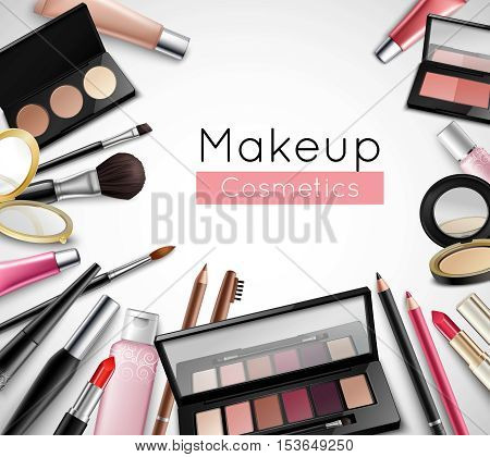 Makeup cosmetics beauty bag accessories realistic composition poster with lipstick lip gloss and eye shadows vector  illustration