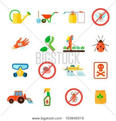 Pesticides and fertilizers icons set with special equipment symbols flat isolated vector illustration