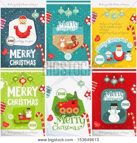 Merry Christmas - New Year Mini Posters Collection with Xmas Symbols - Santa Claus Snowman. Vector Illustration.