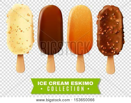 Ice cream collection of eskimo pie with white dark and milc varieties of chocolate glaze at transparent background realistic vector illustration poster