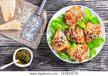 Delicious Stuffed  Chicken Breast On White Plate