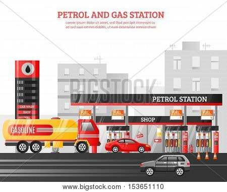 Gas and petrol station flat vector Illustration with car wash shop fueling advertising elements at city buildings background