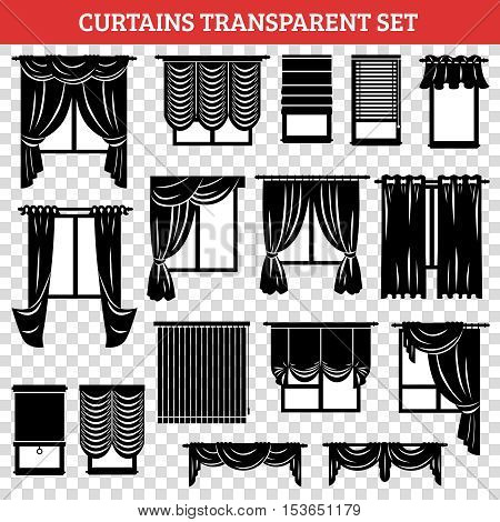 Windows silhouettes with curtains and jalousie black set on transparent background isolated vector illustration