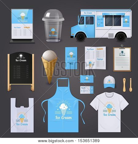 Ice cream corporate identity realistic icons set with apron menu and van isolated vector illustration