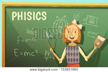 Physics lessons for elementary primary school kids with schoolgirl by blackboard with formulas cartoon poster vector illustration