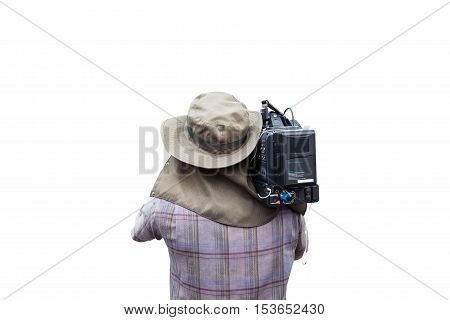 Video camera man operator isolated on white background
