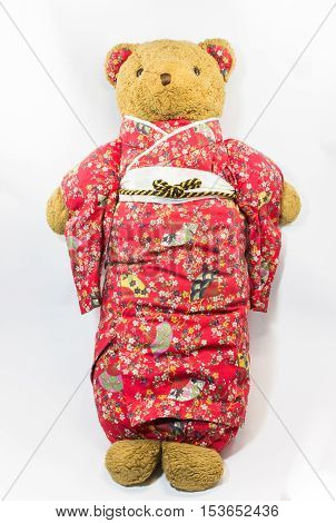 Cute Teddy Bear in kimono costume with white background