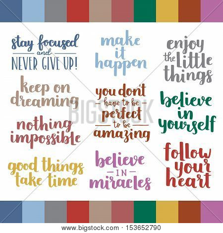 Vector Set Of Inspirational Quotes On White Isolated Background. Autumn 2016 Pantone Color Pallete F
