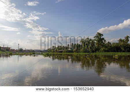 Countryside along Tha Chin river(Maenam Tha Chin),Nakhon Pathom,Thailand