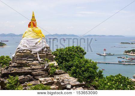 Rock pagoda and panoramic view at Koh Sichang in Chonburi province,Thailand.