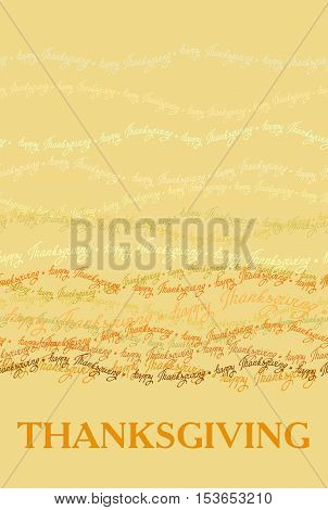 Happy Thanksgiving day vertical design with horizontal seamless border of happy thanksgiving text lines. Good wishes for grateful cards. Vector illustration stock vector.