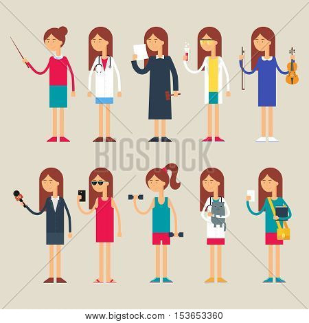Set of vector female characters, occupations, flat style