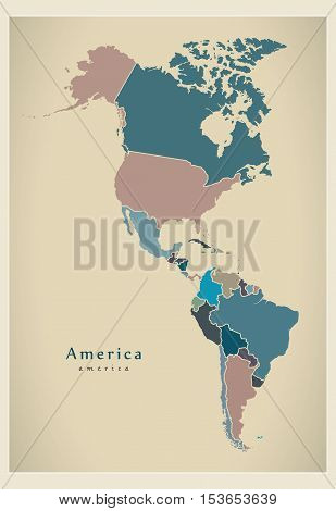 Modern Map - America Complete Map With Countries Colored
