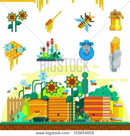 Apiary icons set with bee honey beekeeper honeycomb hive pail and garden in flat style vector illustration