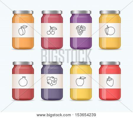 Realistic jar of jam, juice: peach, cherry, grape, orange, pomegranate, blueberry, apple, strawberry. Vector mockup