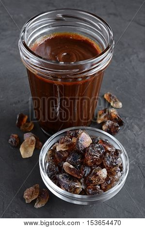 Caramel And Caramelized Sugar In Glass Bowl