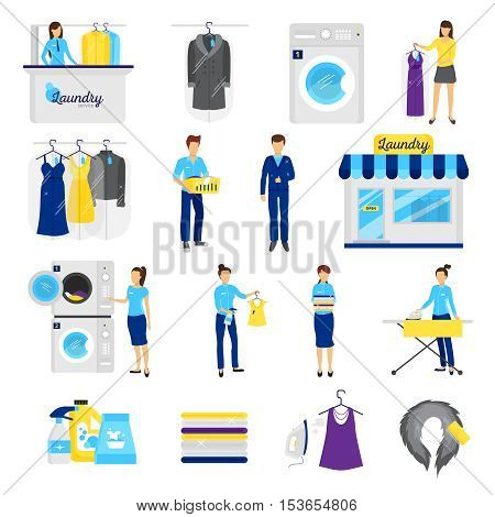 Laundry service set with dry cleaning symbols flat isolated vector illustration