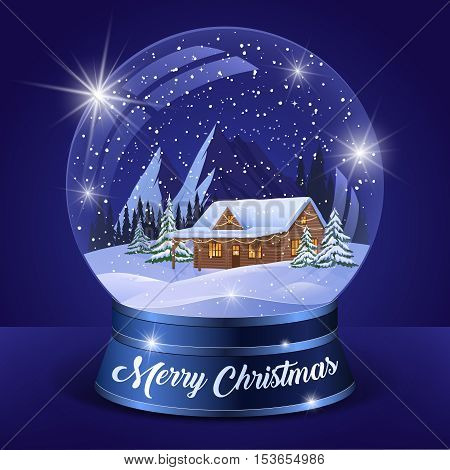Christmas winter landscape globe with snow house forest mountains and stars inside isolated vector illustration