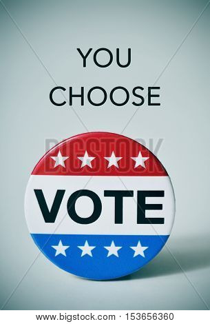 text you choose and a badge with the word vote written in it, for the United States election, with a slight vignette added