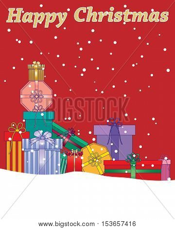 an illustration of a christmas greeting card with wrapped gifts in snow on a red background