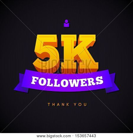 Thank you 5000 followers card. Vector thanks design template for network friends and followers. Image for Social Networks. Web user celebrates a large number of subscribers or followers.