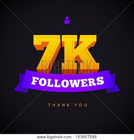 Thank you 7000 followers card. Vector thanks design template for network friends and followers. Image for Social Networks. Web user celebrates a large number of subscribers or followers.