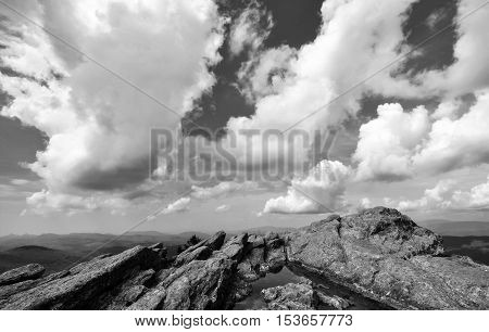 Black and white rocky alpine peak at Grandfather Mountain in the Appalachians