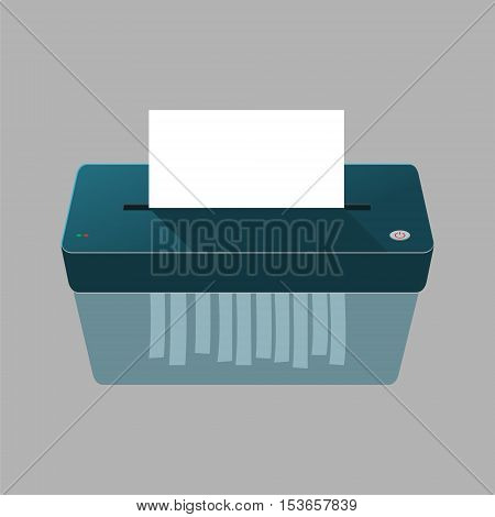 Blue vector Paper Shredder on gray background