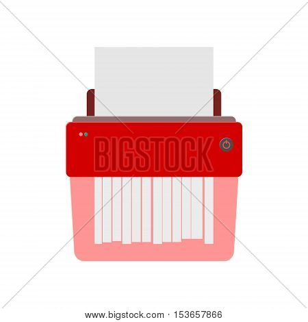 Red Vector Paper Shredder on white background