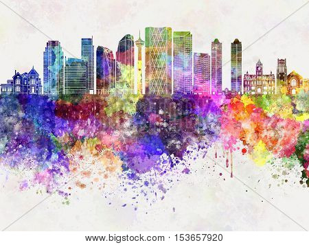 Calgary V2 skyline artistic abstract in watercolor background