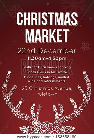Christmas Market Invitation Flyer Vector Illustration Poster