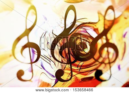 abstract music theme background with clef, modern design in sun light