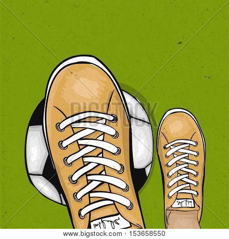 Soccer player holding foot ball on the green lawn of a football field. The sports poster. Vector illustration