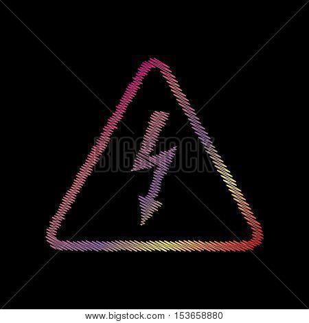 High Voltage Danger Sign. Coloful Chalk Effect On Black Backgound.