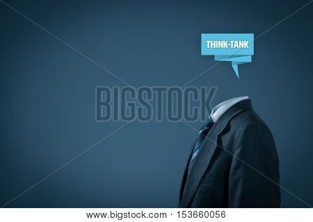 Think tank concept. Businessman with abstract brain and text think-tank.
