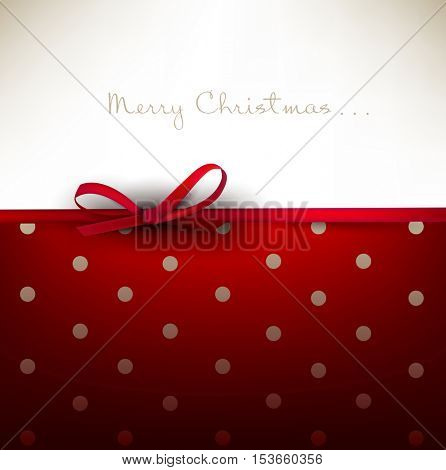 Holiday background with red bow and place for text. Vector Illustration.