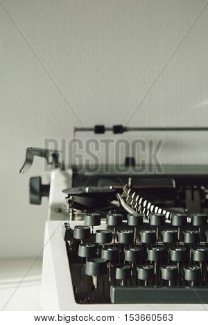 Vintage type writing machine. Close up view