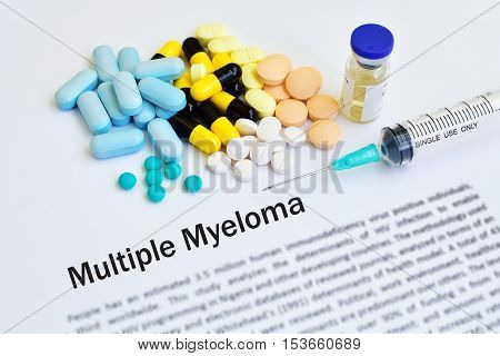 Drugs for multiple myeloma treatment, medical concept, blurred text