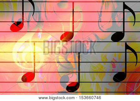 graphic design illustration of notes and note lines, music concept