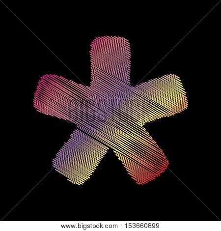 Asterisk Star Sign. Coloful Chalk Effect On Black Backgound.